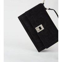 Black Suedette Handle Chain Shoulder Bag New Look Vegan