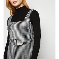 Black Dogtooth Belted Pinafore Dress New Look