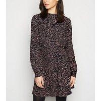 Black Leopard Print High Neck Mini Dress New Look