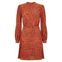 Rust Animal Print High Neck Puff Sleeve Dress New Look
