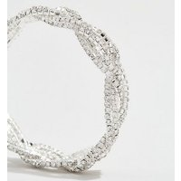 Silver Premium Diamante Twist Stretch Bracelet New Look