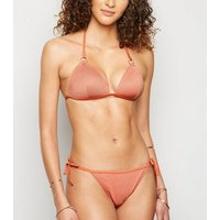 Pale Pink Glitter Moulded Triangle Bikini Top New Look