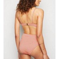 Pale Pink Glitter Underwired Bikini Top New Look