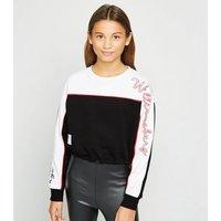 Girls Black Williamsburg Slogan Sleeve Sweatshirt New Look
