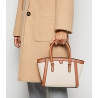 Tan Canvas and Leather-Look Tote Bag New Look Vegan