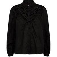 Black Broderie Long Puff Sleeve Shirt New Look