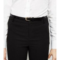 Girls Black Belted Super Skinny Trousers New Look