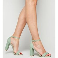 Wide Fit Light Green Suedette Ankle Strap Block Heels New Look Vegan