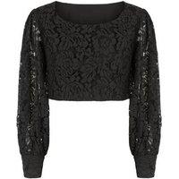 Pink Vanilla Black Crochet Puff Sleeve Top New Look