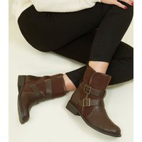 Rust Faux Shearling Lined Biker Boots New Look