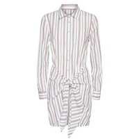 Apricot Off White Stripe Knot Front Shirt Dress New Look