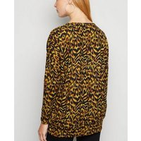 Apricot Yellow Animal Print Oversized Top New Look