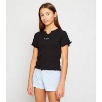 Girls Black Ditsy Floral K Bye Slogan Pyjamas New Look
