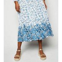 Blue Vanilla Pale Blue Floral Shirt Midi Dress New Look