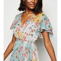 Blue Vanilla Multicoloured Floral Midi Wrap Dress New Look
