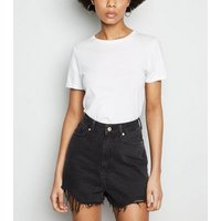 Black Frayed High Waist Mom Shorts New Look
