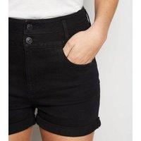 Black High Waist 'Lift & Shape' Denim Shorts New Look