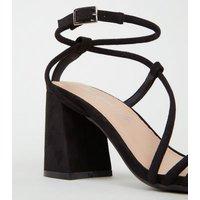 Black Suedette Tube Strap Flared Heel Sandals New Look