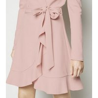 Pale Pink Puff Shoulder Mini Wrap Dress New Look