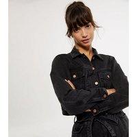 Black Cropped Denim Jacket New Look