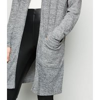 Grey Longline Hooded Cardigan New Look