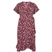 Curves Red Floral Wrap Midi Dress New Look