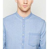 Men's Pale Blue Grandad Collar Denim Shirt New Look