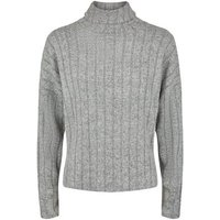 Petite Grey Marl Ribbed Roll Neck Jumper New Look