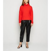 Petite Red Ribbed Roll Neck Jumper New Look