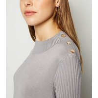 Cameo Rose Grey Button Shoulder Jumper New Look