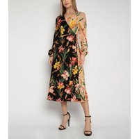 Gini London Multicoloured Floral Midi Wrap Dress New Look
