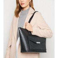 Black Faux Croc Tote Bag New Look Vegan