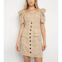 Gini London Off White Check Puff Sleeve Dress New Look
