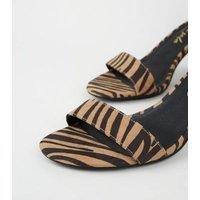 Stone Tiger Print Block Heel Sandals New Look