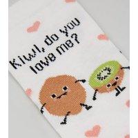 Cream Kiwi Do You Love Me Slogan Socks New Look