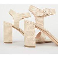 Stone Faux Snake Block Heel Sandals New Look