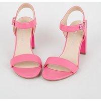 Bright Pink Leather-Look 2 Part Block Heels New Look