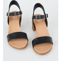 Girls Black Leather-Look Heeled Footbed Sandals New Look