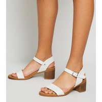 Girls White Leather-Look Heeled Footbed Sandals New Look