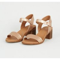 Girls Rose Gold Metallic Heeled Footbed Sandals New Look