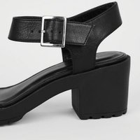 Girls Black Leather-Look Chunky Heeled Sandals New Look Vegan