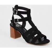 Girls Black Suedette Caged Block Heels New Look