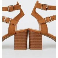 Girls Tan Suedette Caged Block Heels New Look