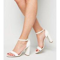 Wide Fit White Leather-Look 2 Part Block Heels New Look Vegan