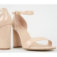 Wide Fit Pale Pink Patent 2 Part Block Heels New Look Vegan