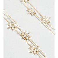 Gold Cubic Zirconia Flower Tassel Earrings New Look