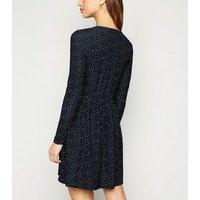 Black Spot Soft Touch Mini Smock Dress New Look