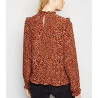 Brown Spot Frill Trim Blouse New Look