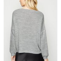 Cameo Rose Grey Ruched Front Jumper New Look