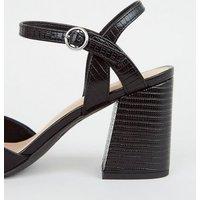 Black Faux Snake Flared Block Heel Court Shoes New Look Vegan